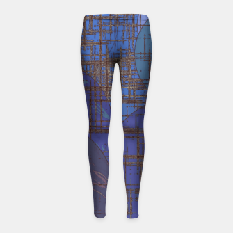 Thumbnail image of geometric circle and square pattern abstract in blue and purple Girl's leggings, Live Heroes