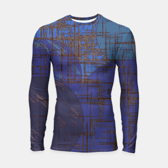 Thumbnail image of geometric circle and square pattern abstract in blue and purple Longsleeve rashguard , Live Heroes
