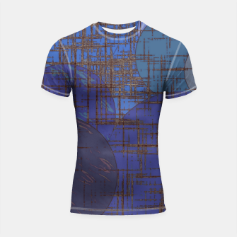 Thumbnail image of geometric circle and square pattern abstract in blue and purple Shortsleeve rashguard, Live Heroes