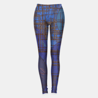Miniatur geometric circle and square pattern abstract in blue and purple Leggings, Live Heroes