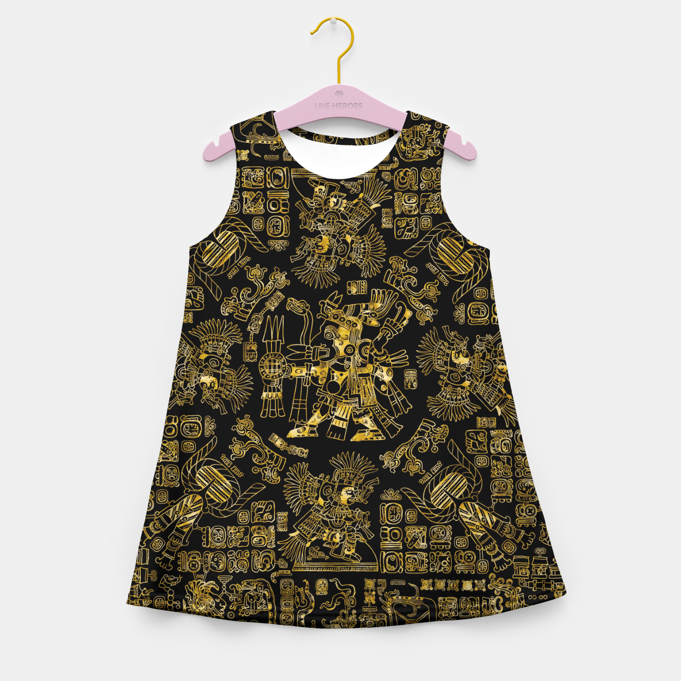 Image of Mayan Spring GOLD Girl's summer dress - Live Heroes