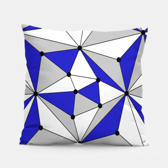 Thumbnail image of Abstract geometric pattern - blue, gray and white. Pillow, Live Heroes