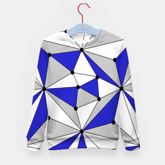 Thumbnail image of Abstract geometric pattern - blue, gray and white. Kid's sweater, Live Heroes