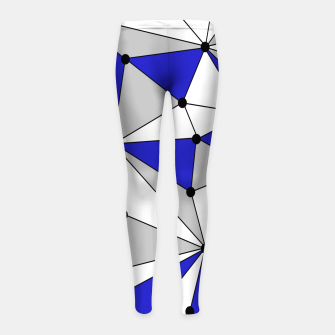 Thumbnail image of Abstract geometric pattern - blue, gray and white. Girl's leggings, Live Heroes