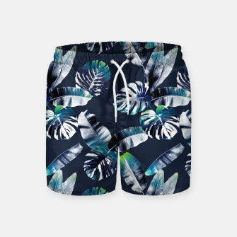 Miniatur TROPICAL LEAF PRINT IN NAVY & LIME Swim Shorts, Live Heroes