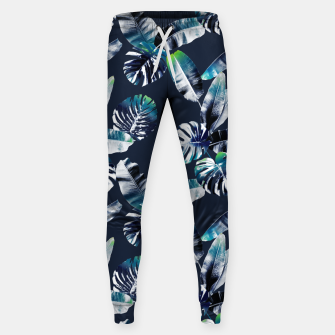 Miniatur TROPICAL LEAF PRINT IN NAVY & LIME Sweatpants, Live Heroes
