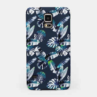 Miniatur TROPICAL LEAF PRINT IN NAVY & LIME Samsung Case, Live Heroes
