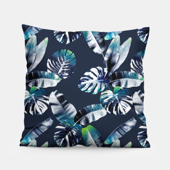 Thumbnail image of TROPICAL LEAF PRINT IN NAVY & LIME Pillow, Live Heroes