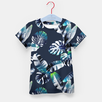Miniatur TROPICAL LEAF PRINT IN NAVY & LIME Kid's t-shirt, Live Heroes