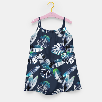 Miniatur TROPICAL LEAF PRINT IN NAVY & LIME Girl's dress, Live Heroes