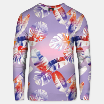 Miniatur TROPICAL LEAF PRINT IN PINK, LILAC, & ORANGE Unisex sweater, Live Heroes