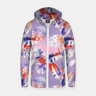 Imagen en miniatura de TROPICAL LEAF PRINT IN PINK, LILAC, & ORANGE Zip up hoodie, Live Heroes