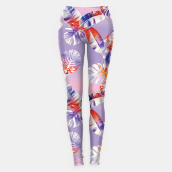Miniatur TROPICAL LEAF PRINT IN PINK, LILAC, & ORANGE Leggings, Live Heroes