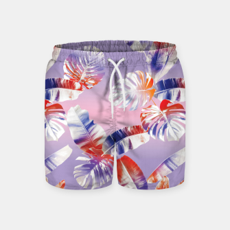 Miniatur TROPICAL LEAF PRINT IN PINK, LILAC, & ORANGE Swim Shorts, Live Heroes