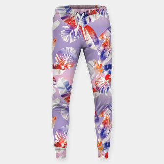 Miniatur TROPICAL LEAF PRINT IN PINK, LILAC, & ORANGE Sweatpants, Live Heroes