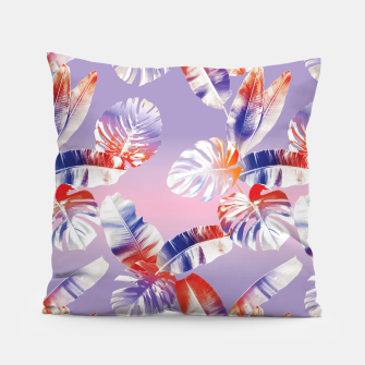 Thumbnail image of TROPICAL LEAF PRINT IN PINK, LILAC, & ORANGE Pillow, Live Heroes
