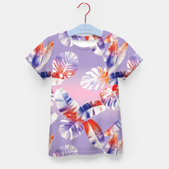 Miniatur TROPICAL LEAF PRINT IN PINK, LILAC, & ORANGE Kid's t-shirt, Live Heroes