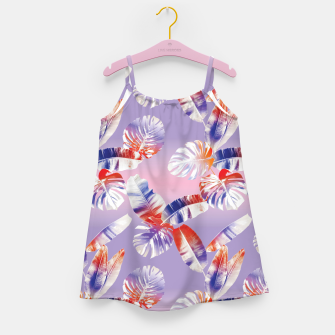 Miniatur TROPICAL LEAF PRINT IN PINK, LILAC, & ORANGE Girl's dress, Live Heroes