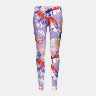 Miniatur TROPICAL LEAF PRINT IN PINK, LILAC, & ORANGE Girl's leggings, Live Heroes