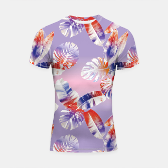 Miniatur TROPICAL LEAF PRINT IN PINK, LILAC, & ORANGE Shortsleeve rashguard, Live Heroes