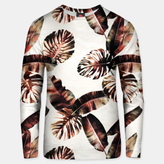 Miniatur TROPICAL LEAF PRINT IN DARK GREEN & BURNT SIENNA Unisex sweater, Live Heroes
