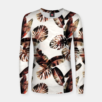 Miniatur TROPICAL LEAF PRINT IN DARK GREEN & BURNT SIENNA Women sweater, Live Heroes