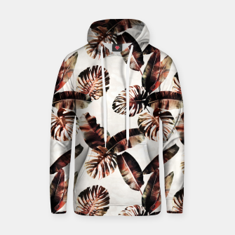 Miniatur TROPICAL LEAF PRINT IN DARK GREEN & BURNT SIENNA Hoodie, Live Heroes