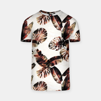 Miniatur TROPICAL LEAF PRINT IN DARK GREEN & BURNT SIENNA T-shirt, Live Heroes