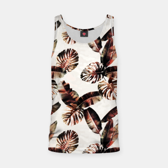 Miniatur TROPICAL LEAF PRINT IN DARK GREEN & BURNT SIENNA Tank Top, Live Heroes