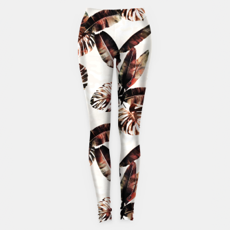 Miniatur TROPICAL LEAF PRINT IN DARK GREEN & BURNT SIENNA Leggings, Live Heroes