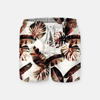 Miniatur TROPICAL LEAF PRINT IN DARK GREEN & BURNT SIENNA Swim Shorts, Live Heroes