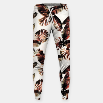 Miniatur TROPICAL LEAF PRINT IN DARK GREEN & BURNT SIENNA Sweatpants, Live Heroes