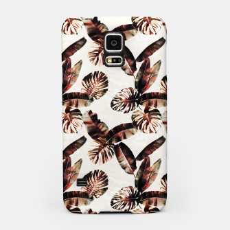 Miniatur TROPICAL LEAF PRINT IN DARK GREEN & BURNT SIENNA Samsung Case, Live Heroes