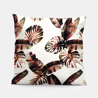 Thumbnail image of TROPICAL LEAF PRINT IN DARK GREEN & BURNT SIENNA Pillow, Live Heroes