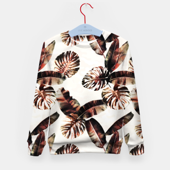 Miniatur TROPICAL LEAF PRINT IN DARK GREEN & BURNT SIENNA Kid's sweater, Live Heroes