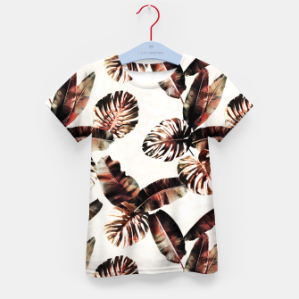 Miniatur TROPICAL LEAF PRINT IN DARK GREEN & BURNT SIENNA Kid's t-shirt, Live Heroes
