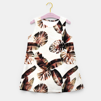 Miniatur TROPICAL LEAF PRINT IN DARK GREEN & BURNT SIENNA Girl's summer dress, Live Heroes