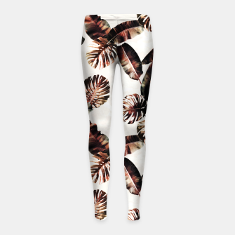 Miniatur TROPICAL LEAF PRINT IN DARK GREEN & BURNT SIENNA Girl's leggings, Live Heroes