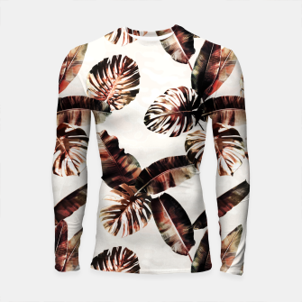 Miniatur TROPICAL LEAF PRINT IN DARK GREEN & BURNT SIENNA Longsleeve rashguard , Live Heroes