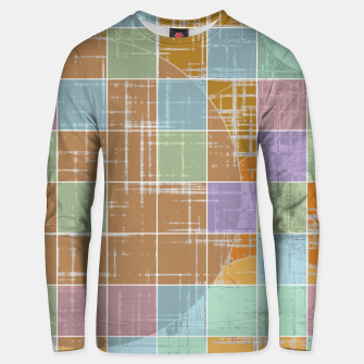 Miniatur geometric square and circle pattern abstract in orange blue pink Unisex sweater, Live Heroes