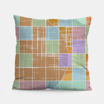 Thumbnail image of geometric square and circle pattern abstract in orange blue pink Pillow, Live Heroes