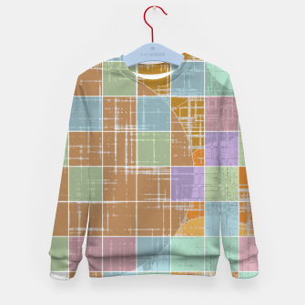 Thumbnail image of geometric square and circle pattern abstract in orange blue pink Kid's sweater, Live Heroes