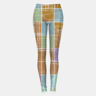 Miniatur geometric square and circle pattern abstract in orange blue pink Leggings, Live Heroes