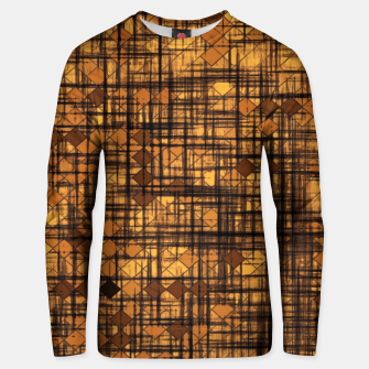 Miniatur geometric square pixel pattern abstract in brown Unisex sweater, Live Heroes
