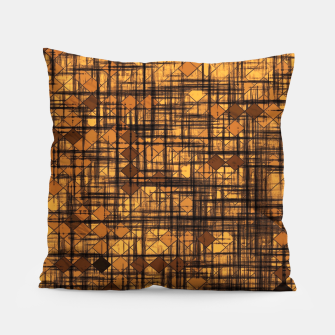 Thumbnail image of geometric square pixel pattern abstract in brown Pillow, Live Heroes