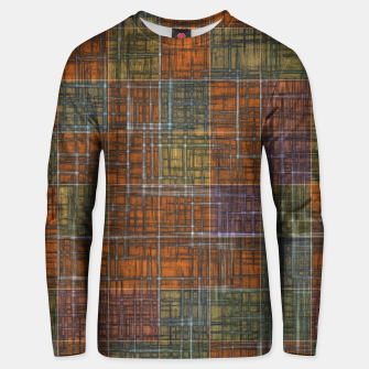 Miniatur geometric square pattern abstract in orange brown green yellow Unisex sweater, Live Heroes