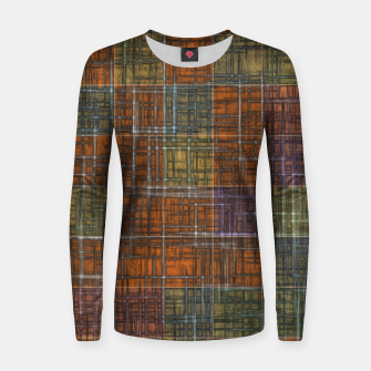 Thumbnail image of geometric square pattern abstract in orange brown green yellow Women sweater, Live Heroes