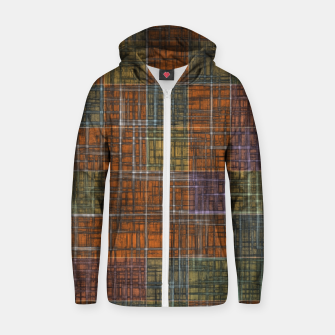Thumbnail image of geometric square pattern abstract in orange brown green yellow Zip up hoodie, Live Heroes