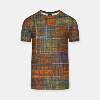 Thumbnail image of geometric square pattern abstract in orange brown green yellow T-shirt, Live Heroes