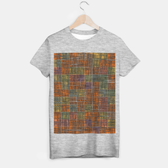 Thumbnail image of geometric square pattern abstract in orange brown green yellow T-shirt regular, Live Heroes